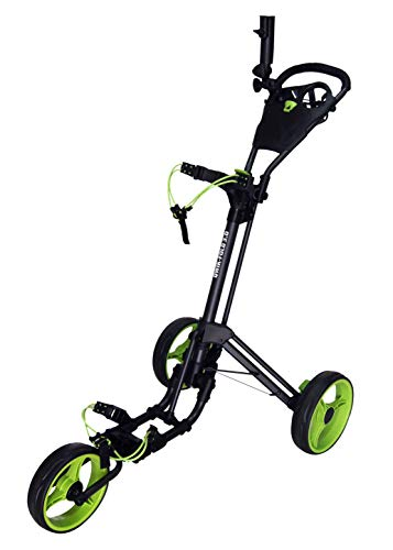 Qwik-Fold 3 Wheel Push Pull Golf CART - Foot Brake - ONE Second to Open & Close! (Black/Lime)