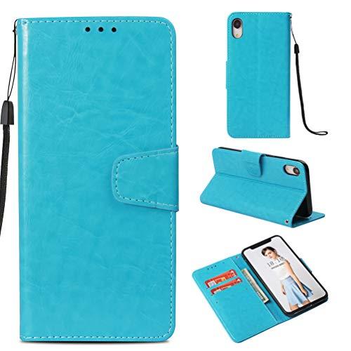 Coque iPhone XR 6.1 Pouces, Housse en Cuir LaVibe PU Leather à Rabat Emplacement pour Cartes Multiples Clapet 3D Rétro Design, UV Imprimer Appareil Photo Protection Cover –Ciel Bleu