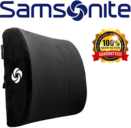 Samsonite SA6041 - Soft Plush Lumbar Support Pillow - Helps Relieve Lower Back Pain - 100% Pure Memory Foam - Improves Posture - Fits Most Seats - Washable...
