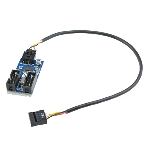 9pin USB Header Male 1 to 2 Female Extension Splitter Cable Connector Adapter (Male 1 to 2 Female)