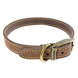 Top-Grain Bridle Leather Carefully Crafted In The UK Sewn Down Both Sides With Bonded Thread For Added Strength Strong Stitching With Die Cast Buckle And D Ring Loop Suitable For Neck Sizes 35cm - 43cm