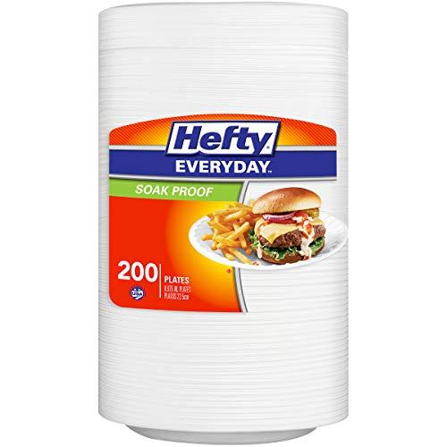 Hefty Everyday Foam Plates (White, Soak Proof, 9-inch, 200 Count)