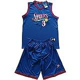 QJJ Allen Iverson Jersey Philadelphia 76ers #3 Baloncesto Uniforme Traje Verano Baloncesto Rendimiento Chaleco y Pantalones Cortos de Malla Azul-L