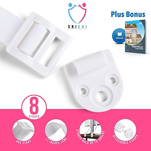 Furniture Anchors Straps Baby Proofing – 8 Pack – Keep Children Safe From Falling/ Tipping Appliances – Attach Furniture to Wall – For Dressers, Fridges, Shelves, TV Stands, etc - Great as Gift