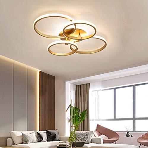 Wohnzimmerlampe Deckenleuchte LED Modern Pendelleuchte Eckig Ring Design Lampe Dimmbar 3000K-7000K mit Fernbedienung Lichtfarbe/Helligkeit Deckenlampe Acryl Schlafzimmer Esszimmer Flur Decke Leuchten