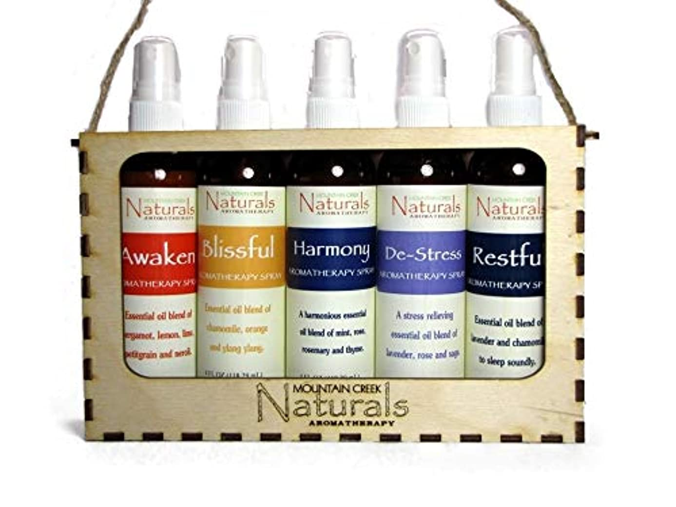 Aromatherapy Spray Gift Set in Natural Wooden Tote