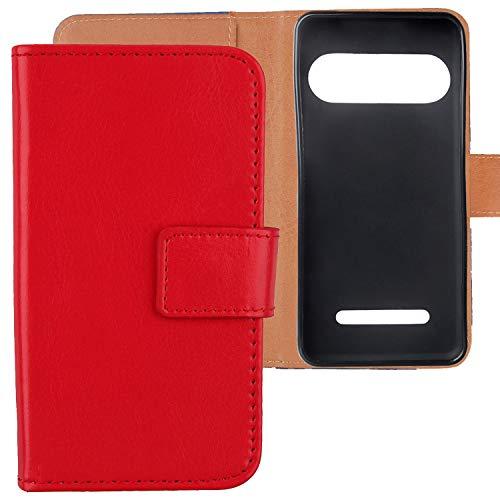 Lankashi Premium PU Leder Tasche Hülle Für Doro Liberto 8035 Handy Flip TPU Silikon Schale Brieftasche Schutz Hülle Cover Etui Schutzhülle Handyhülle Handytasche Handy Abdeckung (Rot)