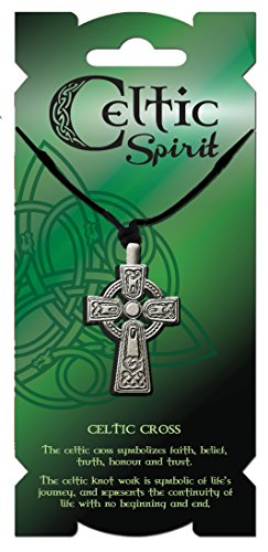 Carrolls Irish Gifts Celtic Spirit Pewter High Celtic Cross Pendant with an Adjustable Woven Chain