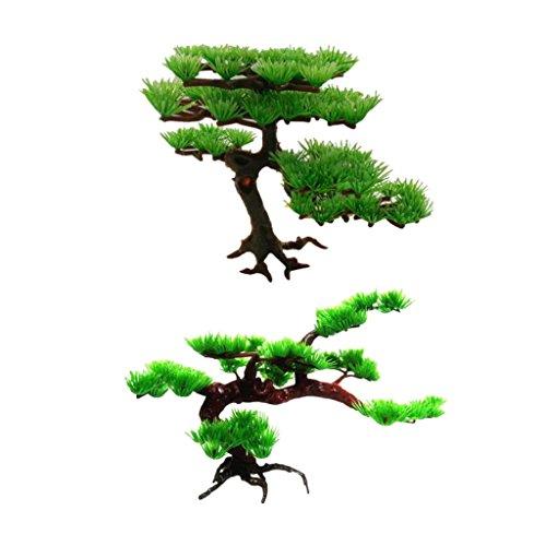 LOVIVER Artificial Pine Tree Plastic Plant Decor for Aquarium Fish Tank Bonsai Ornament, Green - S and L
