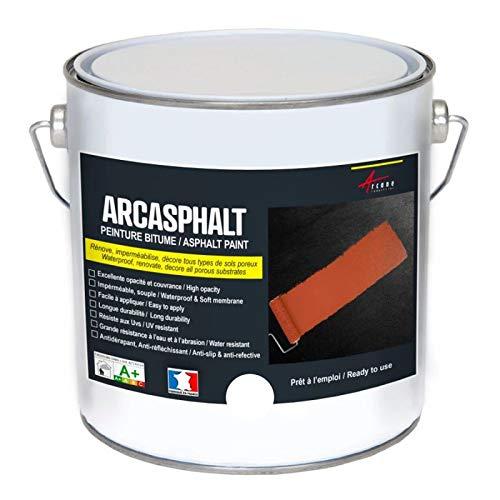 Bitumenfarbe ARCASPHALT : Bitumenanstrich - Asphaltfarbe - Teerfarbe - Kunstharzlack für Böden aus Bitumen, Asphalt, Teer - Weiß - 3,75 kg, 7,5 m² für 2 Schichten