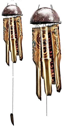 Bellaa 23400 Sun Moon Star Bamboo Chimes Outdoor Garden Windchime Gifts 41 inch