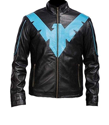 SRHides Men's Fashion Black & Blue Nightwing Real Leather Jacket Cow Medium