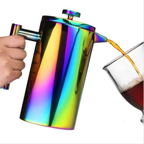 French Press Coffee Maker - Large 34 Oz Stainless-Steel French Press Coffee Maker  Colorful Rainbow Double Walled French Coffee Press Tea Makers  Bonus Coffee Scoop 2 Filters