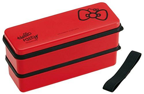 Skater Sanrio Hello Kitty Boîte à bento, style japonais, 2 étages, rouge, motif ruban, 630 ml SSLW6