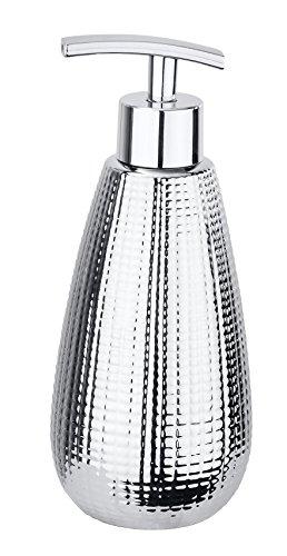WENKO Seifenspender Dakar - Flüssigseifen-Spender, Spülmittel-Spender Fassungsvermögen: 0.37 l, Keramik, 8 x 19 x 8 cm, Chrom