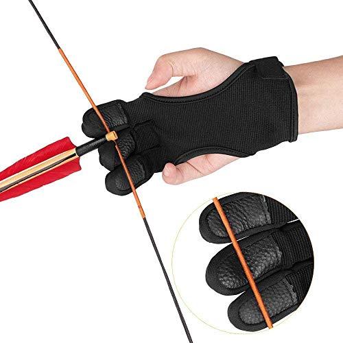 IPENNY Unisex Schießhandschuh Leder 3 Finger Traditionell Bogenschießen Handschuhe Shooting Handschutz Schutzhandschuhe Schutzpolster Tab Bogen Schießen Protector für Jugendliche Erwachsene Anfänger