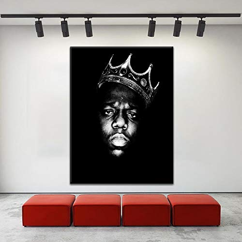 HNTHBZ Leinwand-Malerei Leinwand HD Drucke Gemälde Home Decor Rahmen 1 Stück Rapper König Biggie Smalls Tupac Shakur Plakat for Fans Schlafzimmer-Wand-Kunst WWJYB0122 (Size (Inch) : 60x90cm)