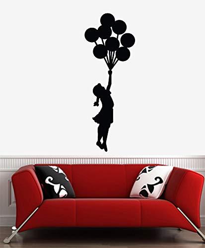 H421ld Vinilo decorativo para pared, estilo Banksy, con diseño de globo volador, grande, para pared (22 pulgadas de ancho x 60 pulgadas de alto) (opciones de color y tamaño disponibles)