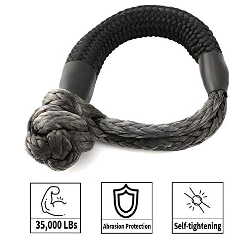 Kohree Synthetic Soft Shackle,7/16 Inch X 20 Inch (35,000lbs Breaking Strength) UHMWPE Soft Shackle Recovery Rope with Protective Sleeve for Sailing SUV ATV 4X4 Truck Jeep Recovery Climbing Towing