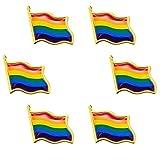 Hicarer 6 Pacchi Gay Pride Pin Bandiera Ondulata Arcobaleno LGBT Distintivi a Spillo Pin Spilla in Metallo Regalo Bandiera Arcobaleno LGBT Regalo novità da Collezione