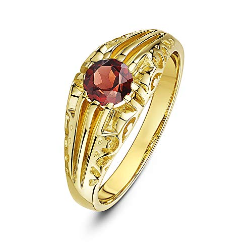 Theia Women's 9 ct Yellow Gold, Round Garnet Stone Set in a Designed Prong Setting with a Swirl Design Shank Ring, Size L