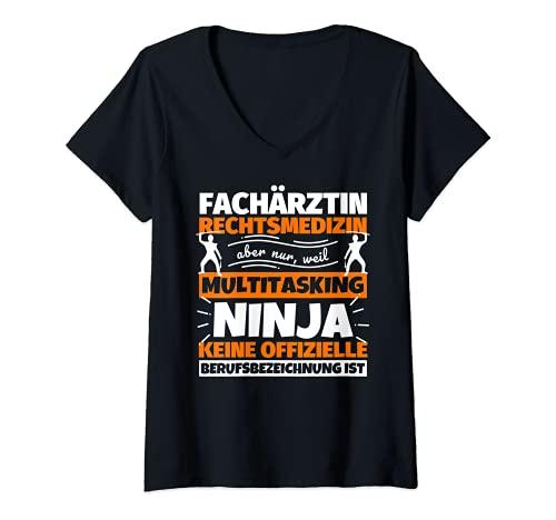 Mujer Médica especialista de medicina diestra, divertido frase Ninja Profesional Camiseta Cuello V