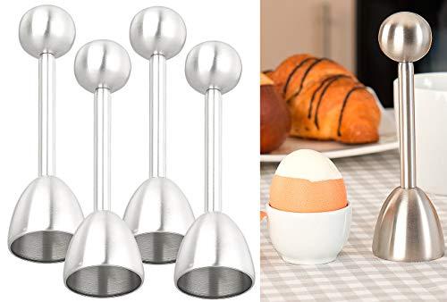 Rosenstein & Söhne Eierschalenbrecher: 4er-Set Eierköpfer & Eieröffner aus Edelstahl, für harte & weiche Eier (Eierschalensollbruchverursacher)