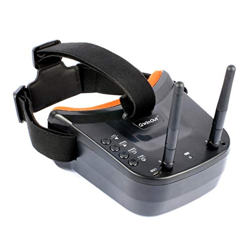 QWinOut 5.8G FPV Goggles 3 inch 480 x 320 Display 5.8Ghz 40CH HD Built-in Battery, with Double Antenna Reception for FPV Racing Drone Quadcopters
