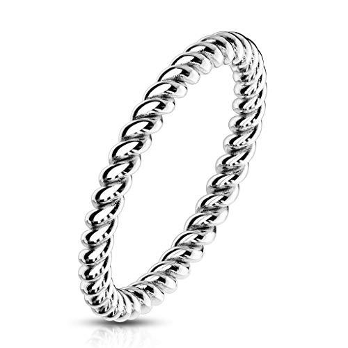 Paula & Fritz® Damenring 2mm schmal geflochten als Vorsteck-Ring Silber Gold Rose-Gold Edelstahl gedrehtes Seil R-M6957S_80