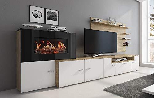 Home Innovation - Wohnmöbel mit elektrischem Kamin mit 5 Flammenstufen, mattweißer Oberfläche und gebürsteter heller Eiche, Maße: 290 x 170 x 45 cm tief