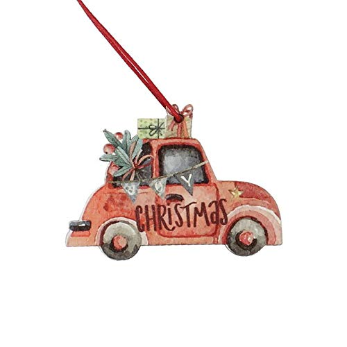 WMY 3Pcs Camion Di Natale Vintage Con Ornamenti Per Alberi Decorazione Natalizia In Legno Per Albero Di Natale Ornamento Festa Regalo Per Bambini