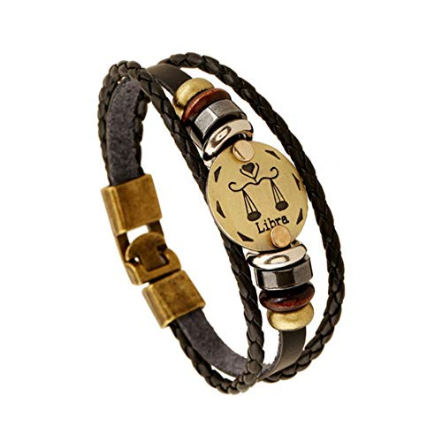 DLIAN Modieuze brons legering gespen twaalf constellingen weegschaal armband punk leer armband houten parel & Black Hematite Lover Charm sieraden