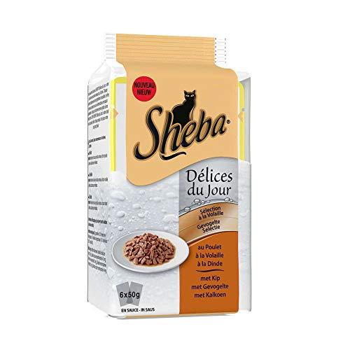 SHEBA Délices du jour sachets fraîcheur en sauce - A la volaille - Pour chat - 6 x 50 g