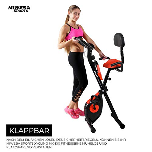 Miweba Sports Indoor Xycling X-Bike Fitnessbike - 3 Kg Schwungmasse - Pulsmessung - 8 Widerstandsstufen - App Funktion (Schwarz Rot) - 5