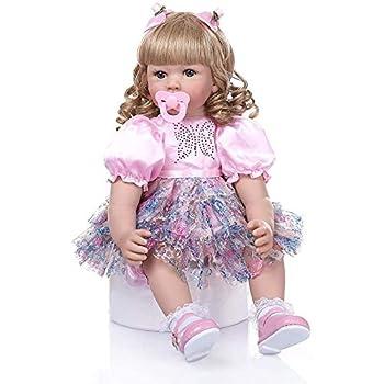 Zero Pam Reborn Baby Dolls Toddler Dolls - Pink Fairy Girl - Golden Curly Hair Life Like Reborn Caucasian Child Dolls Soft Body Realistic Kid Dolls Best Children Gifts