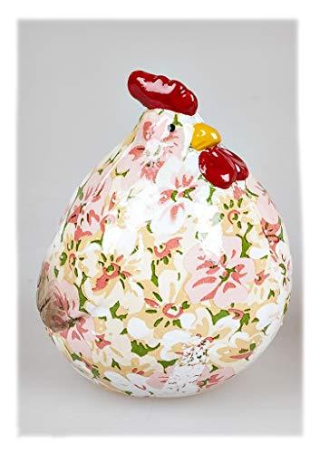 Regali e decorazione per Pasqua – Statuetta decorativa a forma di pollo con decorazione floreale, 11 cm