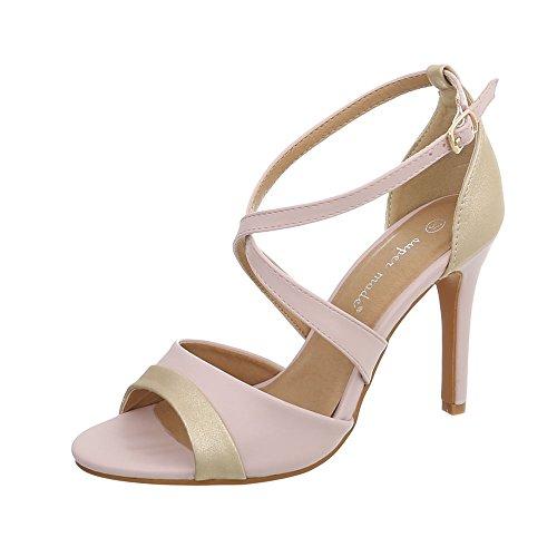 Ital-Design High Heel Sandaletten Damen-Schuhe Pfennig-/Stilettoabsatz Heels Schnalle Sandalen & Hellrosa, Gr 39, 8446-