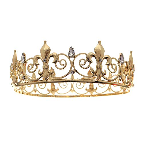 NLEI Princess Crystal Crowns Wedding Tiaras Rhinestone Accessories Head Jewelry for Wedding Prom Pageant Party Gift for Birthday Christmas,Gold