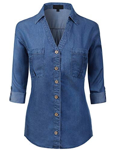 MixMatchy Women's Long Sleeve Denim V-Neck Tencel Button Down Shirt Medium Denim 3XL