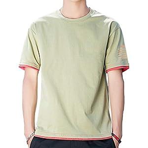 tシャツ メンズ 半袖 夏服 トップス 無地 カジュアル 绵 軽い 柔らかい おしゃれ 無地 丸襟 快適 green M