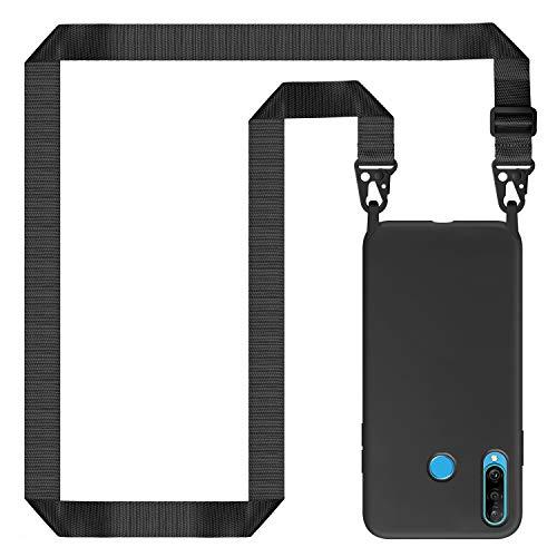 Genrics Handykette Hülle für Huawei P30 Lite, Necklace Hülle Nylon Schultergurt Weich Silikon Handyhülle mit Kordel zum Umhängen Schutzhülle mit Stylische Band, Schwarz