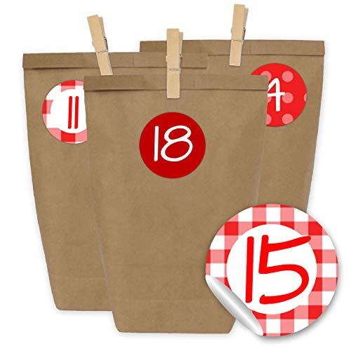 Papierdrachen 24 Bolsas de Papel con Pegatinas + 24 Pinzas de Madera para el Calendario de Adviento - Motivo Clásico, en Rojo - 20