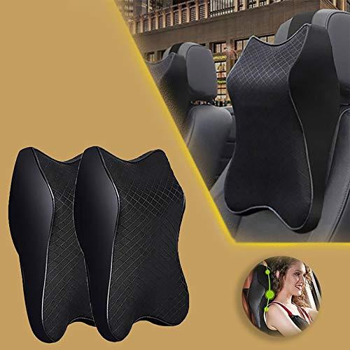N/G Car Seat Headrest Neck Rest Cushion Durable Pure Memory Foam Neck Pillow Comfortable ErgonomicBreathable Removable Seat Headrest Pad (2Black,L)