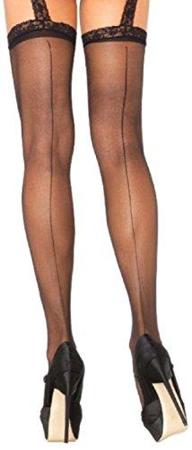 Leg Avenue Damen Strumpfgürtel Strümpfe Nylon 20 DEN Schwarz mit rückwärtiger Naht Spitze mit Blumenmuster Einheitsgröße 36 bis 40