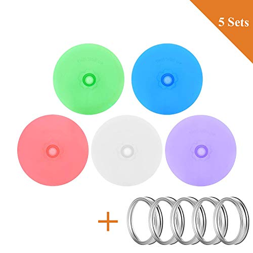SLKIJDHFB Silicone Fermenting Lids for Wide Mouth Mason Jar- Metal Ring and Food Grade Silicone Fermention Caps with Airlock for Pickle, Sauerkraut, Kimchi and Other Fermented Probiotic Food 5 Sets