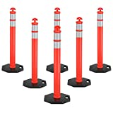 <span class='highlight'><span class='highlight'>GYMAX</span></span> 6 Pcs Reflective Traffic Posts, Flexible PE Parking Barriers, Traffic Safety Visible Warning Sign Orange Silver