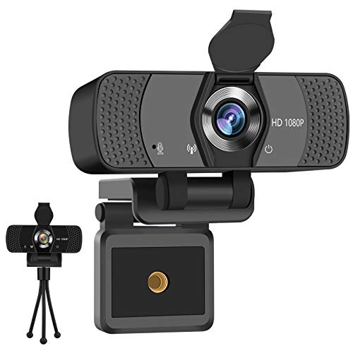 Adhope Full HD Webcam 1080p with Stereo Microphone for LaptopPC USB 20 Plug and Play Web Camera for Live Streaming and Video Chat Recording Compatible with WindowsLinuxMac with Cover Tripod