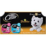 CESAR Soft Wet Dog Food Classic Loaf in Sauce Breakfast Variety Pack, (24) 3.5 oz. Easy Peel Trays