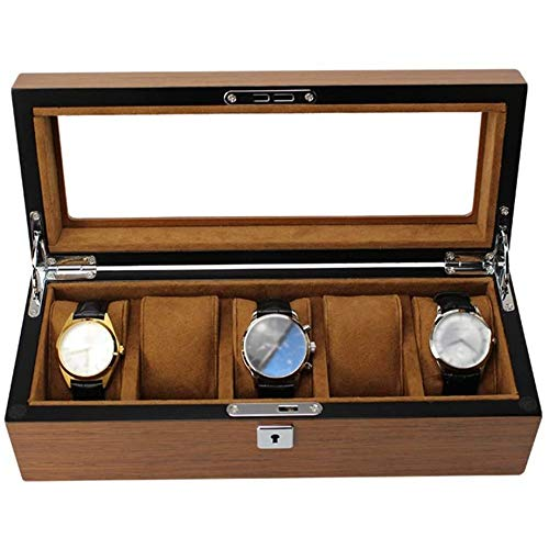 SONGTAO Large Watch Box For Men - 5 Watches Slots, Jewelry Organizer Wooden Watch Display Case With Glass Top