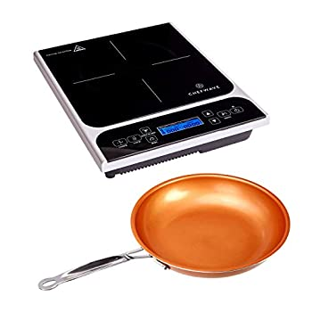 ChefWave CW-IC01 1800W Portable Induction Countertop Burner - Bonus 10 Copper Frying Pan - 20 Power/Temp Settings Digital LCD Touch Kitchen Cooktop Electric Cooker - Energy Efficient Safety Lock